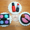 12x Edible fondant girls makeup kit / make up birthday cupcake toppers