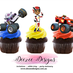 Blaze Monster Machine Edible Wafer Stand-Up Cupcake Toppers - Set of 12