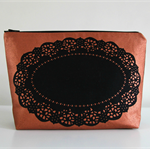 Copper screen printed doily zip bag/clutch/pouch/project bag
