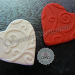 24x Edible Fondant Patterned Hearts engagement / wedding / valentines