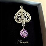 Crystal Brooch - Violet,Clear - Swarovski - Cubic Zirconia - Silver tone - BR028