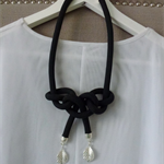 Black knotted cord necklace