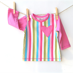 Baby girls t-shirt top, crew neck, rainbow pink stripes, size 3 mths