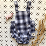 Unisex baby romper onesie - Navy Gingham