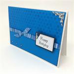 Birthday Card - Dark Aqua Monochrome