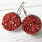 Glittery Red Resin Druzy Drop Earrings on Stainless Steel Settings