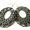 Black Lace Edged Wooden Earrings