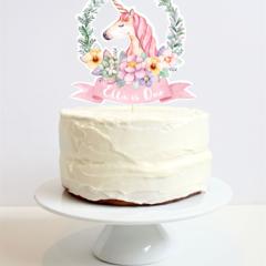 Personalised Unicorn Cake Topper - unicorn in pretty floral wreath.