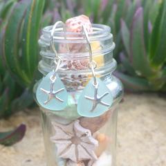 Soft Blue Sea Glass Starfish Earrings