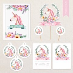 Personalised Unicorn Party Pack - includes invitations, cake topper, poster...
