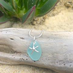Soft Blue Sea Glass Starfish Pendant