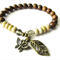 Brown Robles Wood and Magnesite, Butterfly and Leaf Charm Stretch Bracelet