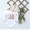 Baby girls romper onesie with vintage applique and lace, 6-12 mths