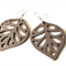 Dark Brown Wooden Leaf Hippie Boho Earrings. Lightweight Lazer Cut Jewellery
