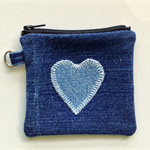 Upcycled Denim Purse - Denim Heart