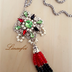 Oriental-Bohemian Style Necklace - Tassel, Crystal - Red, Green, Black - N029