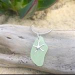 Soft Green Sea Glass Starfish Pendant
