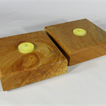 Silky Oak Timber Tealight Holders (pair) art#pr016