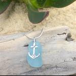 Soft Blue Sea Glass Anchor Pendant