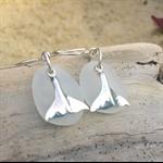White Sea Glass Whale Tail Earrings