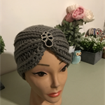 Crochet Turban Style Hat with Brooch