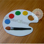 12x edible Fondant Artists Paint Palette cupcake toppers