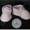 Edible Light pink baby girl booties fondant cake topper