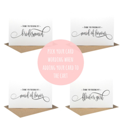 Bridal Party Cards, Will you be my Bridesmaid Card, Wedding Card, WED059