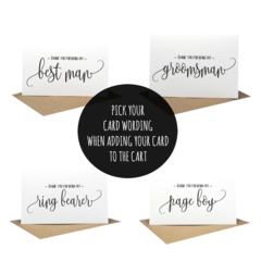 Bridal Party Cards, Best Man Cards,  Wedding Card, Script Writing Card, WED060