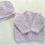 Baby jacket and hat. knitted baby clothing. Baby girl. Baby shower. Baby gift.
