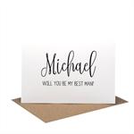 Personalised Best Man Card - Wedding Card - Black Script Writing - WED061