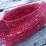 boat basket, hadmade crocheted form made from newspaper yarn and vintage cotton