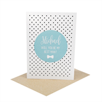 Personalised Will you be my Best Man Card - Blue Circle Script - WED073