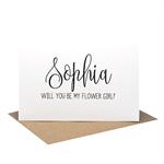 Personalised Flower Girl Card - Wedding Card - Black Script Writing - WED061