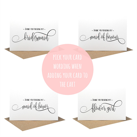 Thank you for being my ? - Wedding Card - Script Writing Card - WED059