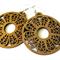 Large Brown Patterned Wooden Hippie Boho Hoop Earrings