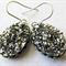 Metallic Silver Oval Resin Druzy Drop Earrings on Stainless Steel Hooks