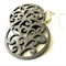 Petite Dark Brown Wooden Circle Swirl Earrings