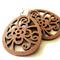 Lightweight Petite Chestnut Brown Egg Shaped Wooden Flower Dangle Earrings
