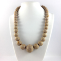 Handcrafted polymer clay necklace- gold and white