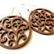 Petite Chestnut Brown Swirl Pattern Wooden Dangle Earrings