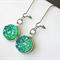 Sparkly Blue Green Resin Druzy Drop Kidney Hook Earrings