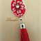 Red Brooch - Flower Tassel - Fabric - Faux Leather - Bright Silver tone - BR030