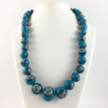 Handcrafted polymer clay necklace- turquoise ad white roses