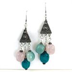 Rose Quartz, Turquoise & Aventurine Earrings with Sterling Silver Earring Hooks