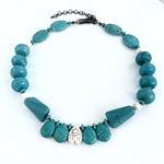 White and Turquoise Howlite Statement Necklace with Bronze Findings