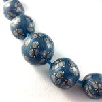 Handcrafted Polymer Clay Long Necklace- cornflower blue swirls