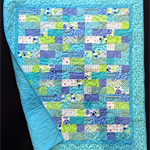 "NO. 53 - TEAL AND LIME PATCH QUILT 42"" X 37"""