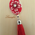 Red Brooch - Flower, Tassel - Fabric - Faux Leather - Bright Silver tone - BR030