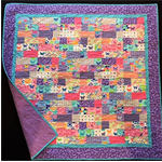 "NO. 48 - PINK/BLUE/LILAC PATCH QUILT 43"" X 42"""
